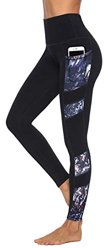 Persit Sporthose Damen, Yoga Leggings Laufhose Yogahose Sport Leggins Tights für Damen,Schwarz,46-48 (Herstellergröße XL)