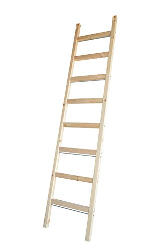 "DIYHD 96"" Knotty Pine Wood Sliding Library Ladder Rolling Ladder(Unfinished)"
