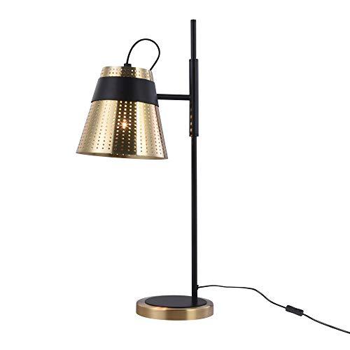 Tafellamp, tafellamp, moderne stijl, frame van metaal, kleur brons en zwart, lampenkap van metaal, bronskleurig, voor woonkamer, kantoor, 40 W E27, 1 lamp niet inbegrepen 220 V