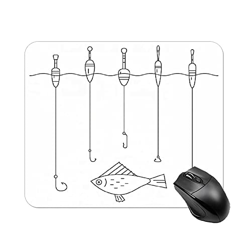 Mouse Pad Nautical Illustration of Fishing Tackle Floaters Hooks Fishing Gear Equipment Doodle Style Art for Office Computers Laptop Travel Gaming Working Studying graphic designers gaming pc Felt des