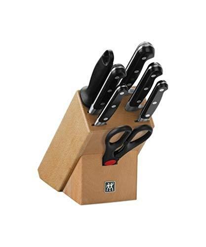 ZWILLING Bloque de cuchillos, 8 piezas, bloque de madera, cuchillos y tijeras de acero inoxidable especial/mango de plástico, Profesional S
