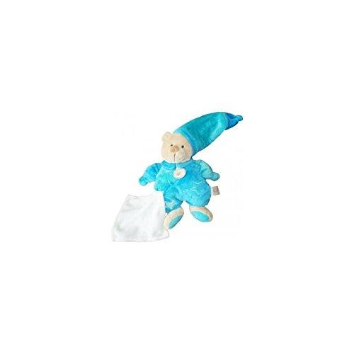 Babynat–Doudou Babynat oso peto y gorro azul estrella pañuelo blanco–3817