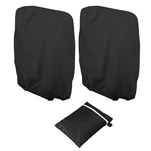 2 fundas plegables para silla reclinable para exteriores, tela Oxford 210D, apilables para sillas de jardín, cubiertas plegables para tumbonas con bolsa de almacenamiento (71 x 110 cm) (negro