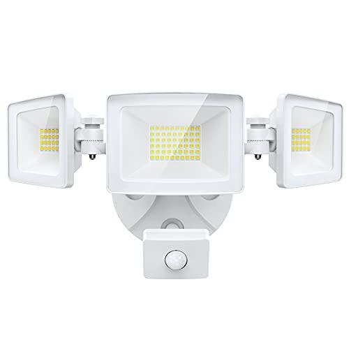 Olafus Projecteur Extérieur Détecteur de Mouvement, 50W 5000LM Triple Spot LED à 3 Tetês d'Angle Réglable IP65 Etanche Blanc Froid 6000K, Lampe de Sécurité pour Coin, Garage, Jardin