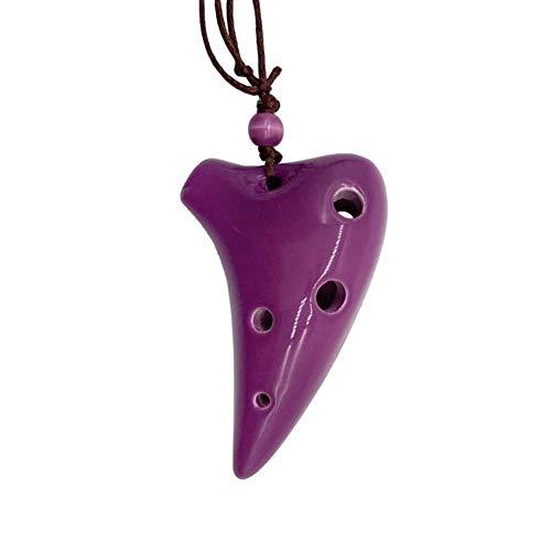 YUNGYE Regalo de 6 Agujeros de cerámica Ocarina Submarino Alto C Estilo Instrumento Musical con la Cuerda de Seguridad Cuenta de la música por Amante de la música y Principiantes (Color : Purple)