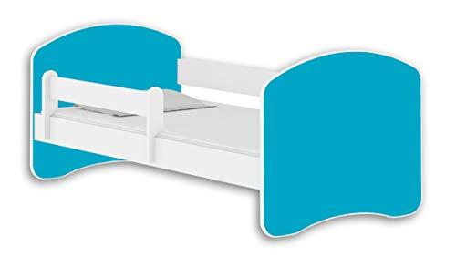 Letto per bambino Cameretta per bambino con materasso Lettino bambini ACMA II (Bianco - Blu, 140x70)