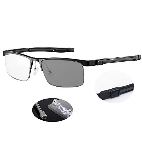 MANG Herren Halbrahmen Lesebrille Multifokale Selbsttönende Brille Anti Blaulicht Computerbrille Anti UV Gleitsichtbrille Business Sonnenbrille