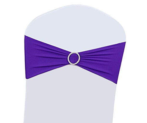 100PCS Wedding Chair Decorations Stretch Chair Bows and Sashes for Party Ceremony Reception Banquet Spandex Chair Covers slipcovers (100, Purple)
