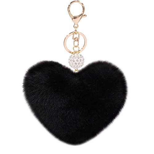 Women's Heart Faux Fur Pom Pom Key Chains Bag Accessory Puffball Keyring Backpack Charms for Girls(black)