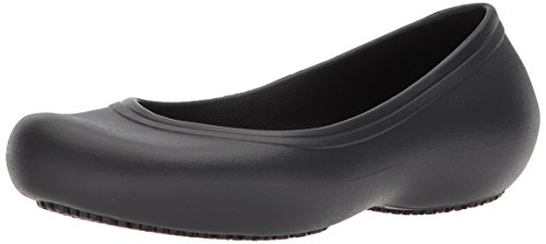 Crocs Women's Flats | Slip Resistant Work Shoes Ballet, Black/Black, 9