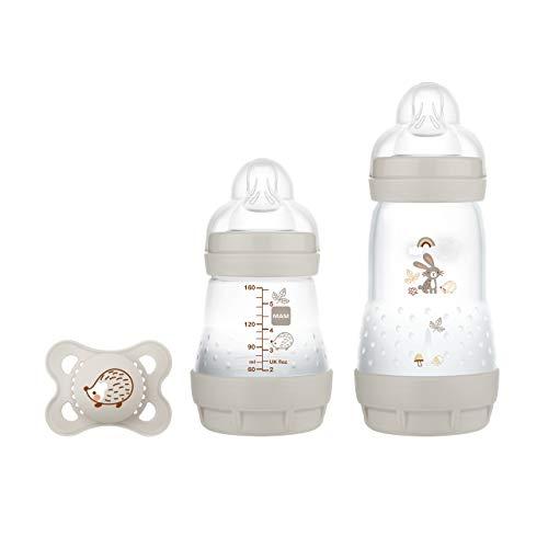 MAM Easy Start Anti-Colic Elements Starter Set S, Baby Erstausstattung mit 2 Anti-Colic Flaschen (160 ml & 260 ml) inkl Sauger Größe 1 und Schnuller, Baby Geschenk Set, ab der Geburt, Hase