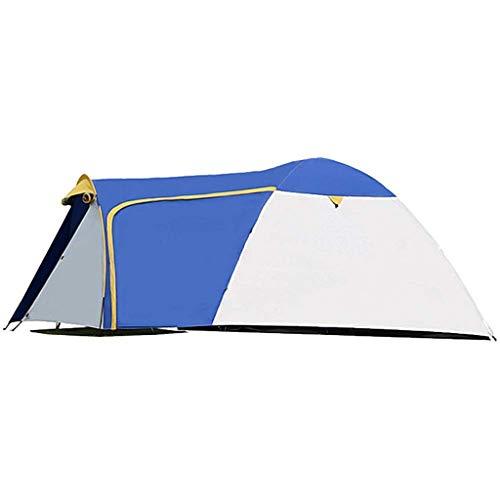 LKOER Tienda, 3-4 Personas Tienda Familiar Tienda Doble Capa Impermeable Protección UV para Camping Playa Senderismo, Azul + Camping Blanco, jinyang