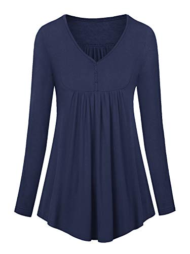 Amoretu Tunika Damen T-Shirt Langarm V Ausschnit Oberteile Bluse Marineblau S
