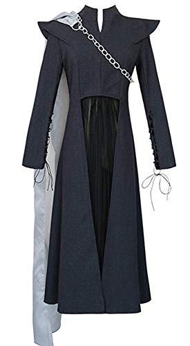 Dahee Queen Daenerys Vestido de Cosplay Negro Conjunto Completo con Chal Blanco para Mujer Disfraz de Halloween - - M