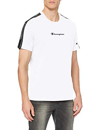 Champion Herren Men\'s Seasonal Tape T-Shirt, White (Ww001), L