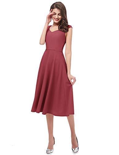 Dresstells Damen 1950er Midi Rockabilly Kleid Vintage V-Ausschnitt Cocktailkleid Faltenrock Raspberry XL - 5
