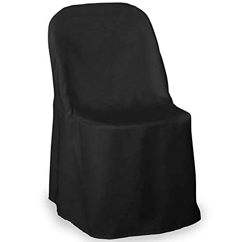 Lann's Linens - 10 Elegant Wedding/Party Folding Chair Covers - Polyester Cloth - Black