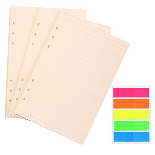 BELIOF 135 Blatt A5 6 Ring Nachfülleinlagen Papiernachfüllungen 6 Löcher Nachfüllbares Briefpapier Planereinsätze Füllen Sie ausgekleidetes Rasterpapier mit Tagebuch zum Einfügen von Etiketten