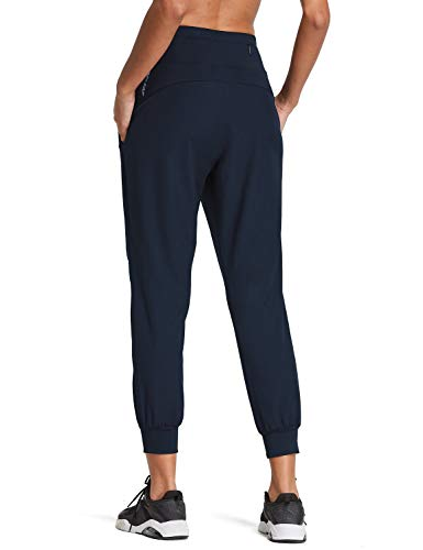 BALEAF Women's 7/8 High Wasited Joggers Lightweight Athletic Running Sport Pants Quick Dry Navy S