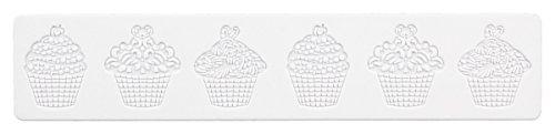 Städter Dekor- Matte Törtchen Backform, Silikon, Kautschuk, Weiß, 39,5 x 8 cm