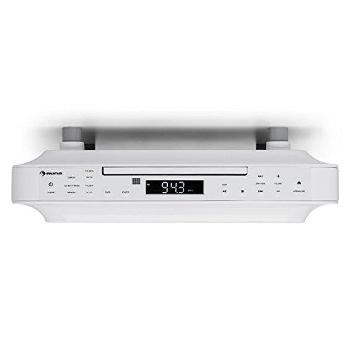 Auna KRCD 100 BT Radio de Cocina - Bluetooth , Reproductor de CD , Temporizador , Despertador , FM , MP3 , Pantalla LCD , 29 x 8 x 26,5 cm , 1,2 kg , 2 x 12 W RMS , Blanco
