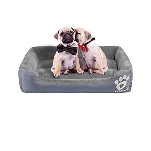 EXMOGO Cuccia per cani Cuccia per gatti domestici Cesti lavabili Per cani di cucce cani taglia piccola o gatti Animali domestici Tessuto Oxford resistente all'acqua S: 42x32x12 cm, Grigio