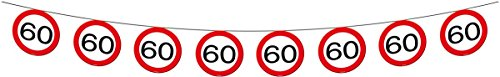 Folat 05185 Banner Traffic Sign-60 years-12 m Long Party-Deko, Zahl 60