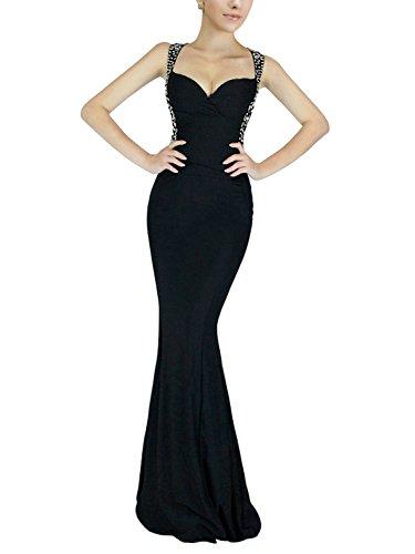 Babyonline® Damen Lang Etuikleid Rückenfrei Abendkleider mit Pailletten Ohne Arm Slim Fit Kleid Figurbetotes Partykleid Clubwear