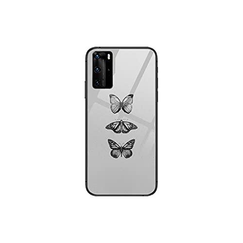 Linda mariposa teléfono caso para Huawei P 40 30 20 10 9 8 Lite E Pro Plus negro Etui Coque pintura hoesjes comic fas-8-Huawei P20 pro