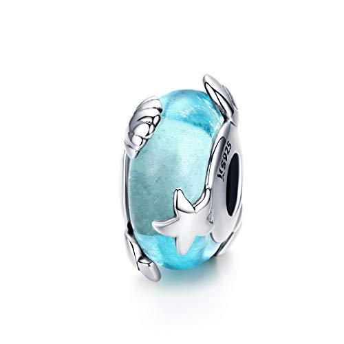 LaMenars Abalorio de plata de ley 925 con diseño de Mundo del Mar de Murano, compatible con pulseras y collares europeos Pandora