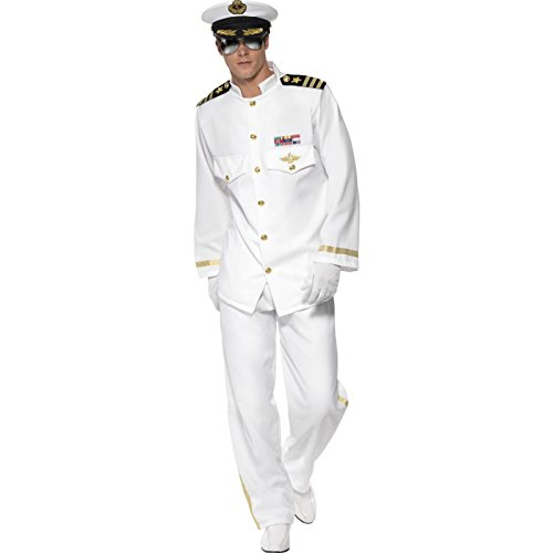 Party Discount New! Men's costume captain deluxe, white, size M