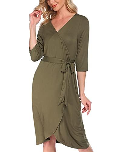 Pinspark Albornoz para mujer, bata de sauna con cuello en V, de media manga, para embarazadas, de viaje, kimono, pijama, tallas S-XXL Verde militar. XXL
