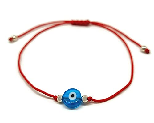 Pulsera Clásico Ojo de la Buene Suerte con Hilo Rojo para Regalar (Rojo)
