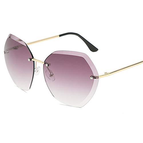 Ocean-Piece Sonnenbrille Diamant geschnitten Rand UV Sonnenbrille Damen rahmenlose Gold Gläser Durchschnittlicher Code Die Goldkiste ergraut.