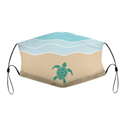 Blue Green Turtle Nest Beach Ocean,Reusable Face Cover,ComfortNose Mouth Cover,Face CoveringBandana for Outdoor