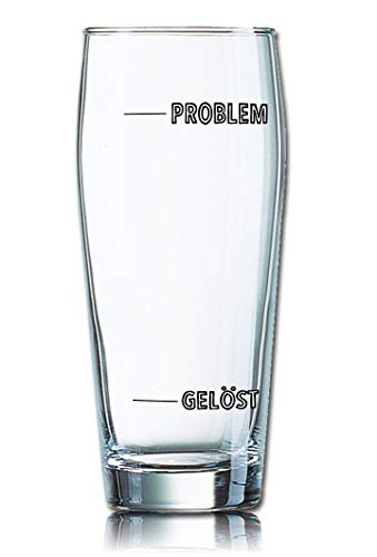 Lustiges Bierglas Willibecher 0,5L - Dekor: Problem - Gelöst - Füllstandsanzeige