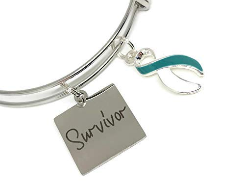 Cervical Cancer Survivor: Teal and Awareness New Free Shipping Ribbon High order Charm White