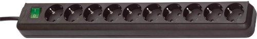 Brennenstuhl Eco-Line, Steckdosenleiste 10-fach (Steckerleiste mit erhöhtem Berührungsschutz, Schalter und 3m Kabel) schwarz