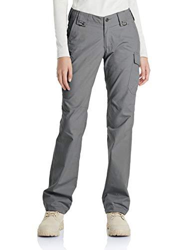 CQR CLSL Women's Outdoor Hiking UPF 50+ Flex Stretch with Multi Pockets, Flexy Cargo(wfp510) - Stone, 14-Regular[Waist 31-32_Hip 40-41 Inch]