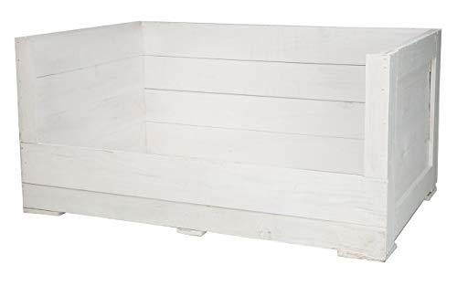 Kontorei 1x hondenmand van witte houten kist met diepe instap, kussen & ruimte voor de naam van het dier, hondenmeubel, nieuw, 95 x 60 x 45 cm