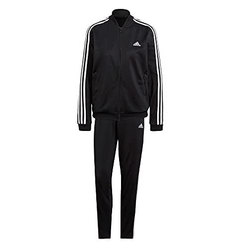 adidas Damen Essentials 3-Streifen Trainingsanzug, Black/White, S