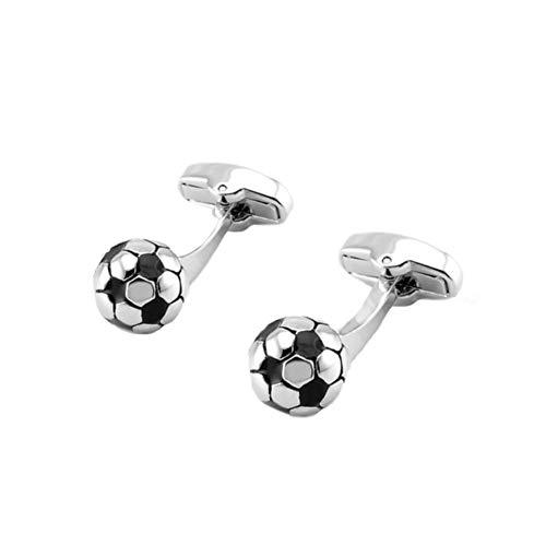Nowbetter Gemelos redondos de acero inoxidable con forma de fútbol para hombre, ideal como regalo de San Valentín, cumpleaños, aniversario, graduación