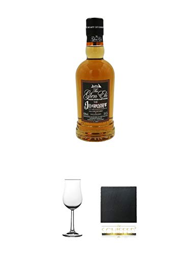 The Glen Els Journey Harzer Single Malt Whisky 0,35 Liter (kein Jahrgang) + Nosing Gläser Kelchglas Bugatti mit Eichstrich 2cl und 4cl 1 Stück + Schiefer Glasuntersetzer eckig ca. 9,5 cm Durchmesser