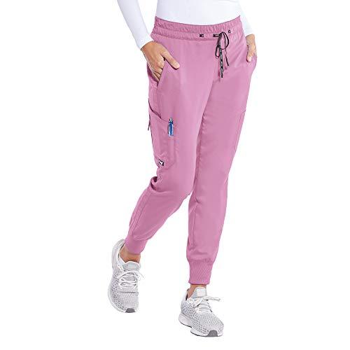 BARCO Grey's Anatomy GRP534 Damen Kira 5-Pocket Logo Tape Jogger Scrub Hose - Pink - X-Large Hoch