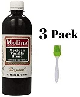 Mexican Vanilla Blend By Molina Vainilla, 16.6 Oz (Pack of 3) Bundled with Silicone Basting Brush in a Prime Time Direct Sealed Bag