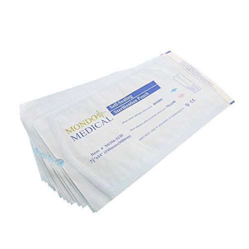 MonMed Self Seal Sterilization Pouches - 7.5 x 14 Inch Medical and Dental Sterilizer Bags, 200Pc Autoclave Pouch Pack