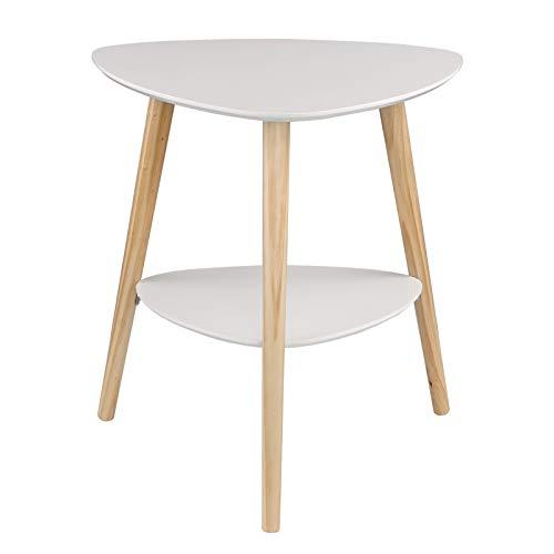 EUGAD 0063ZZ Beistelltisch mit 2 Ablagefäche Nachttisch Nachtkommode Nachtschrank Kaffeetisch Holzbeine MDF 50x40x55cm Weiß