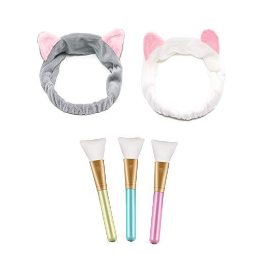 3 Stück Gesichtsmaske Pinsel,Make up Pinsel, 2 Katze Ohr Stirnband Schminken Werkzeug Set,Geeignet für die Maske Augenmaske DIY Bedürfnisse
