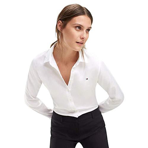 Tommy Hilfiger Damen JENNA SHIRT LS W2 Hemdbluse, Weiß (Classic White 100), 36 (Herstellergröße: 6)