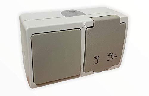 Aufputz Schalter mit Steckdose VDE